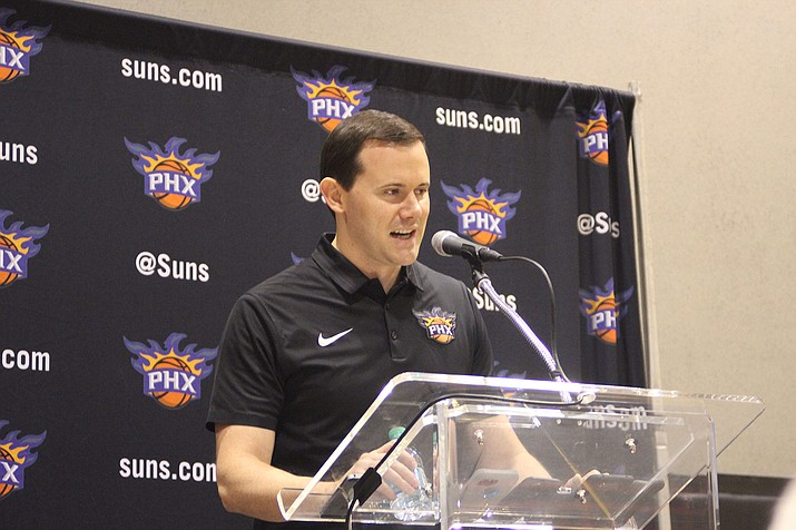Suns General Manager Ryan McDonough speaks Monday at Media Day in Phoenix.