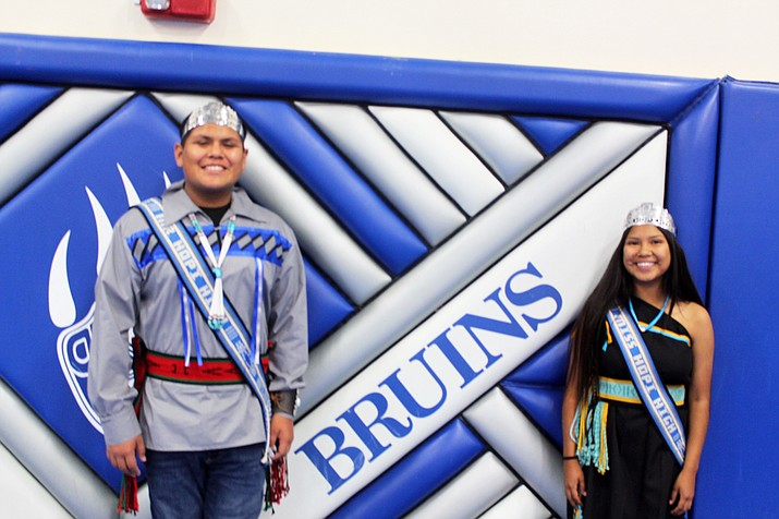 Mr. Hopi High Alan Paxon and Miss Hopi High Hope Honanie are crowned during Indian Week at Hopi High.