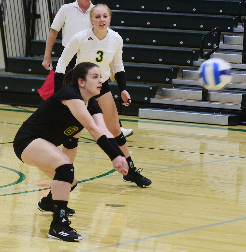 Yavapai's Victoria McCarty returns a serve as the Roughriders take on Scottsdale Community College Wednesday, September 27 in Prescott. (Les Stukenberg/Courier)