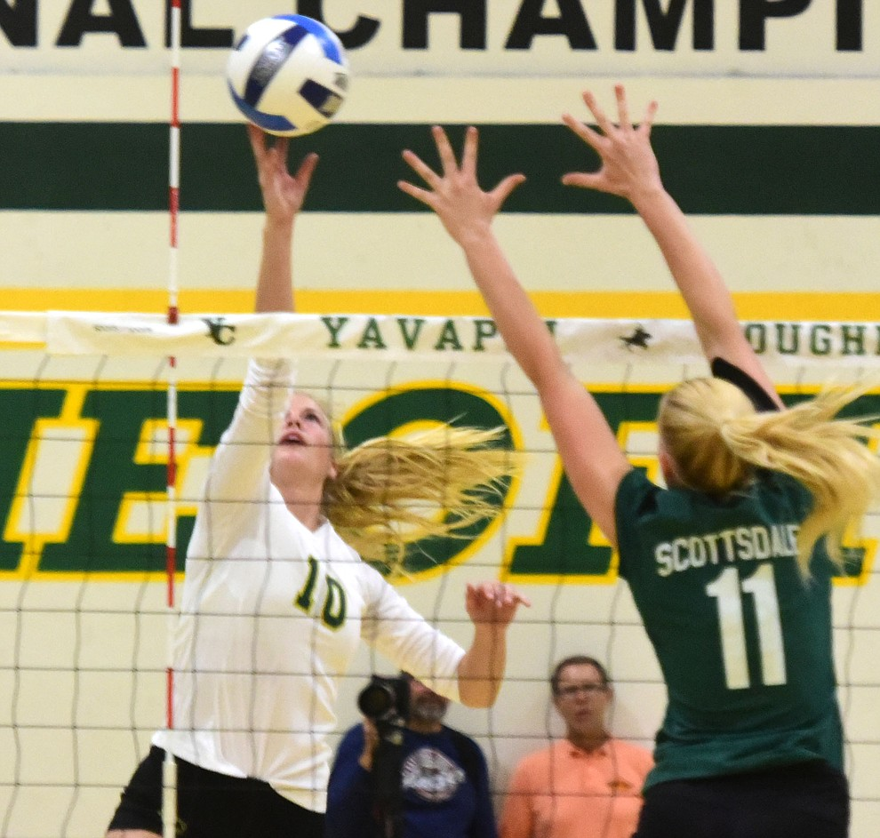 Yavapai's Bailey Anderson (10) gets a kill as the Roughriders take on Scottsdale Community College Wednesday, September 27 in Prescott. (Les Stukenberg/Courier)