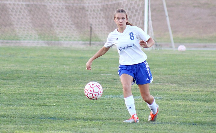 Camp Verde sophomore Tanna Decker is listed as a defender, midfielder and forward on the Cowboys' roster but has impressed in her new position: sweeper. (VVN/James Kelley)