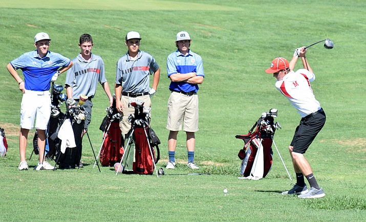 Mingus junior Justin Tanner tees off during a home match last month. Tanner has shot 39 in his last two matches and finished first at Oak Creek Country Club last week. (VVN/James Kelley)