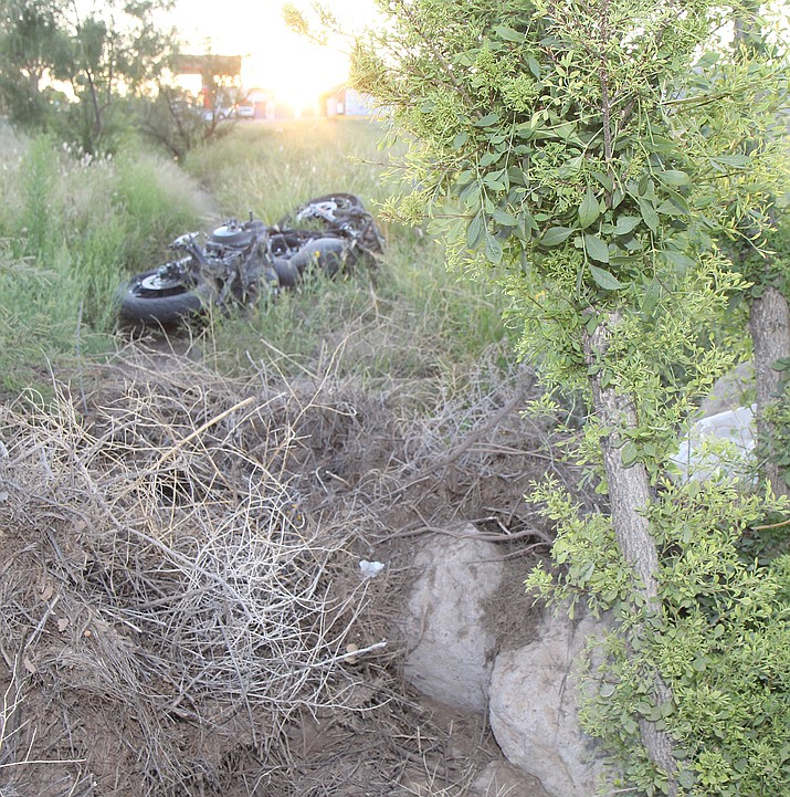 A motorcyclist was flown to Las Vegas after crashing on Hualapai Mountain Road this morning and being found by a Good Samaritan hours later.