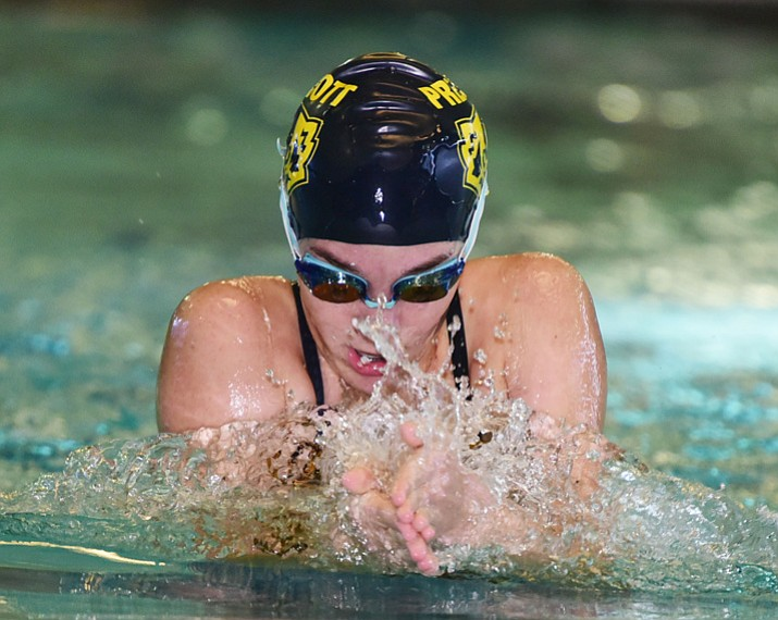 Prescott's Aly Warren swims the breast stroke in the medley relay during a meet Thursday, Sept. 28, 2017, in Prescott. It was senior day for the Badgers. (Les Stukenberg/Courier)