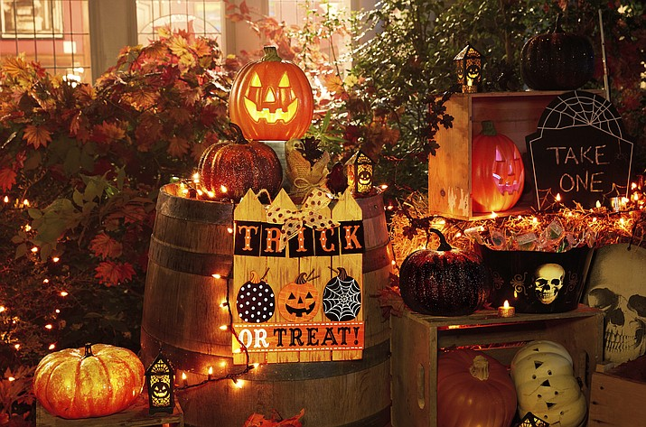 this undated photo provided by party city shows a halloween themed display in a front yard