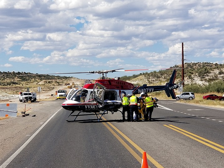 Two men were transported to area medical centers after a head-on collision that occurred just south of the State Route 260 and Old Highway 279 intersection in Camp Verde Friday afternoon. (Photos Courtesy of Verde Valley Fire District)