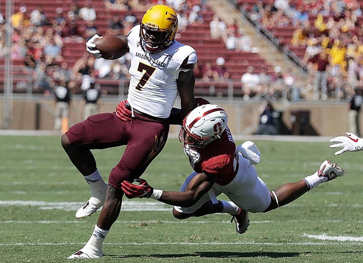 Arizona State running back Kalen Ballage (7) is tackled by Stanford linebacker Bobby Okereke during the first half Saturday, Sept. 30, in Stanford, Calif. (Marcio Jose Sanchez/AP)