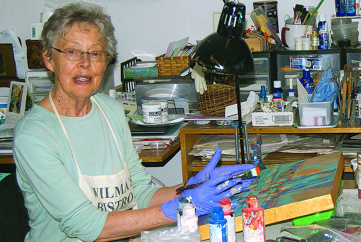 "Cottonwood artist Birgitta Lapides, left, is also widely recognized as a painter of stunning abstract canvases of enduring power. Seeing the Unseen: New Paintings from Birgitta Lapides,""a solo exhibition of new work, opens on Oct. 7 from 5-8 p.m. at the Jerome Artists' Cooperative Gallery, during Jerome's First Saturday Art Walk."
