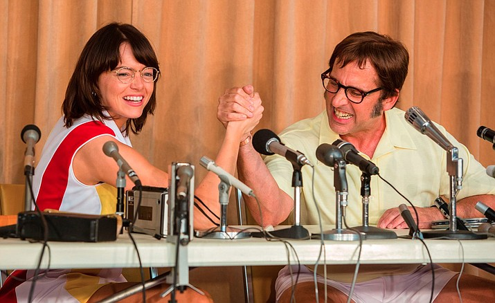 "Emma Stone, left, and Steve Carell in a scene from ""Battle of the Sexes."" The story of the early days of the tour and King's fight for equal prize money is chronicled in the movie, which opened nationwide on Friday. (Melinda Sue Gordon/Fox Searchlight Pictures via AP, File)"