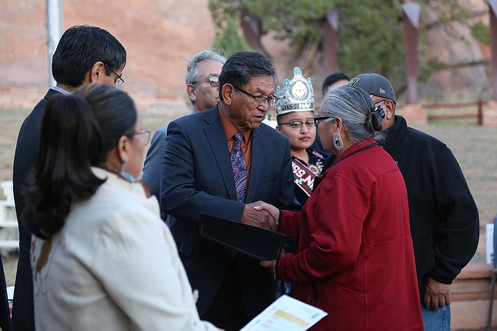 President Russell Begaye shakes hands with Gold Star Mother Jeannette Yazzie at the Gold Star Mother's and Family's Day Sept. 24. Submitted photo