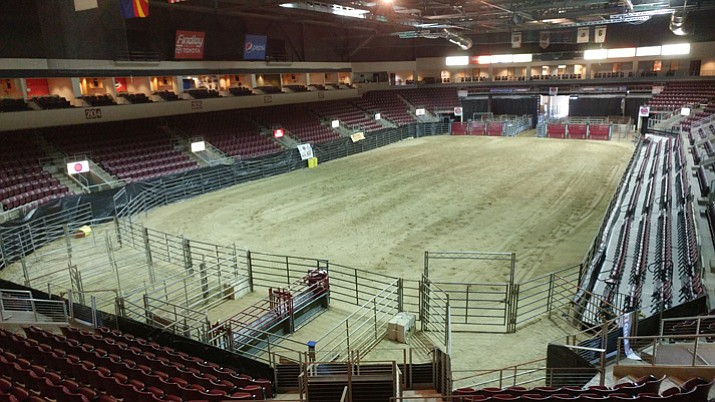 More than 100 dump-truck loads of clay and specialized sand were hauled into Prescott Valley Event Center (PVEC) this past weekend so that the 5,000-seat venue could play host to the 2017 Professional Rodeo Cowboys Association's (PRCA) Turquoise Circuit Finals Thursday through Saturday. This is the rodeo's inaugural running at PVEC. (Doug Cook/Courier)