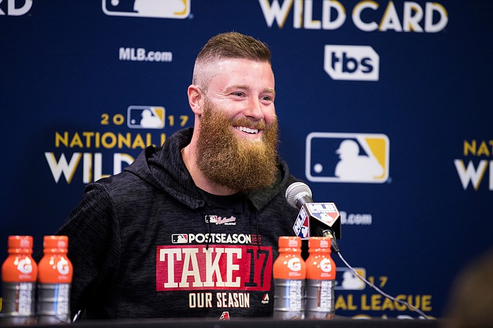 Archie Bradley talks about his two-run triple and giving up two home runs after the Arizona Diamondbacks' 11-8 win over the Colorado Rockies in Wednesday's National League Wild Card Game at Chase Field in Phoenix.