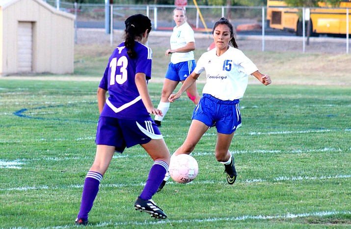 Camp Verde junior Lupe Orta eyes the ball on Sept. 21 against Payson. Last weekend in Tucson, Orta scored two goals. (VVN/James Kelley)