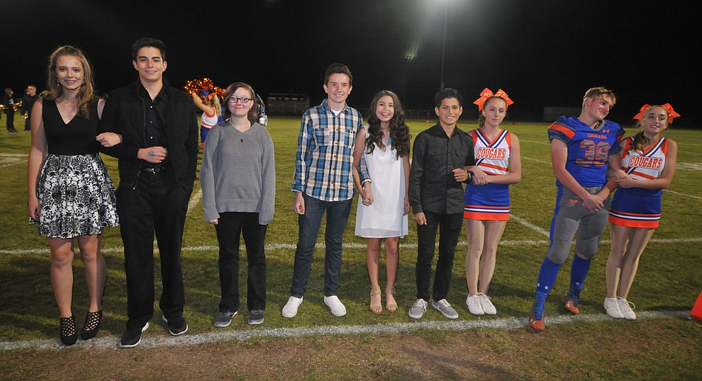 Chino Valley High School sophomore homecoming royalty nominees during halftime of the football game against Kingman Friday, October 6. (Les Stukenberg/Courier)