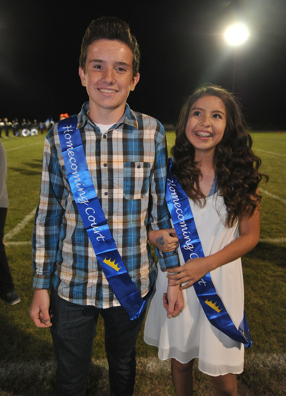 Chino Valley High School sophomore homecoming royalty Ethan Addy and Magali Gomez were crowned during halftime of the football game against Kingman Friday, October 6. (Les Stukenberg/Courier)