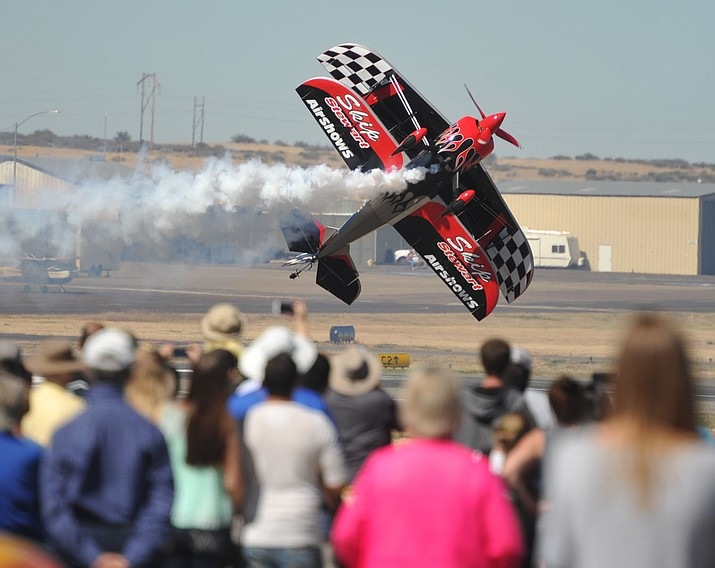 Skip Stewart and his Pitts S-2S, Prometheus performs at the Wings Out West Airshow sponsored by ERAU and the City of Prescott Saturday, October 7. (Les Stukenberg/Courier)
