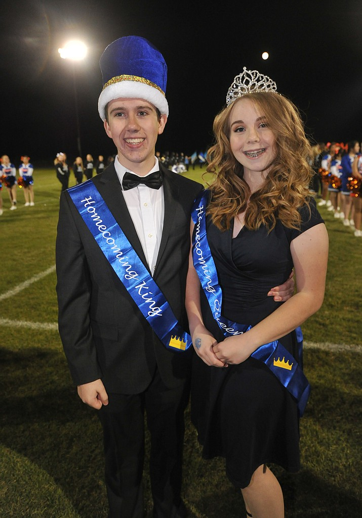 Chino Valley High School homecoming King Trevor Kuntze and Queen Paige Achten were crowned during halftime of the football game against Kingman Friday, Oct. 6. (Les Stukenberg/Courier)