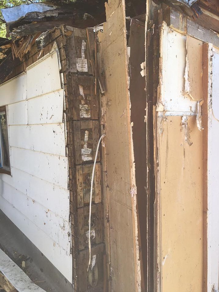 Walls made with ammo boxes from WWII were found in a Prescott home. (Courtesy)