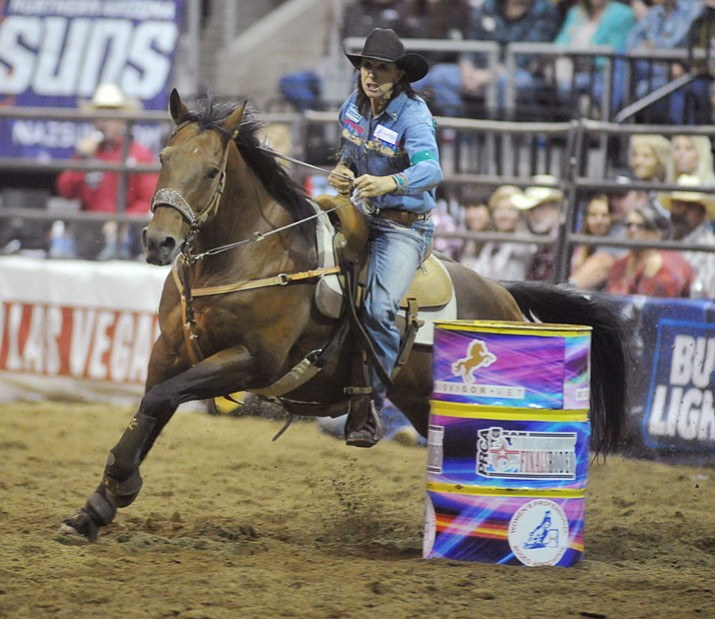 Lori Todd during the final round of the Turquoise Circuit Finals Rodeo on Saturday, Oct. 7, at the Prescott Valley Event Center. (Les Stukenberg/Courier)