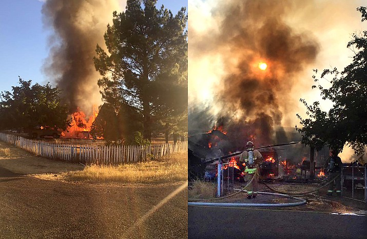 A mobile home and two cars in 3400 block of Stevens Road, in the Verde Lakes Estates area, were destroyed by fire Saturday morning. The home owner was able to escape, but sustained a minor injury, according a news release from Copper Canyon Fire and Medical Authority. (Photos courtesy of CCFMA)