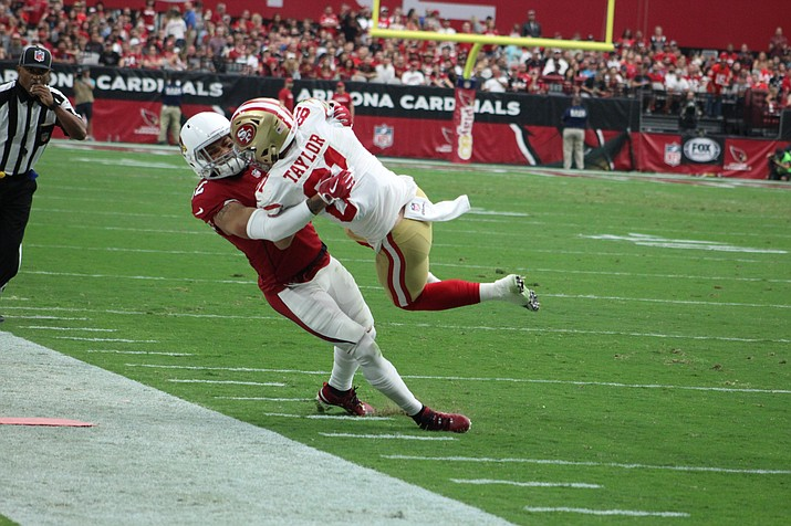 Arizona Cardinals' safety Tyrann Mathieu throws San Francisco's wide receiver Trent Taylor to the turf Oct. 1. The Cardinals were beaten badly Sunday at Philadelphia, 34-7.