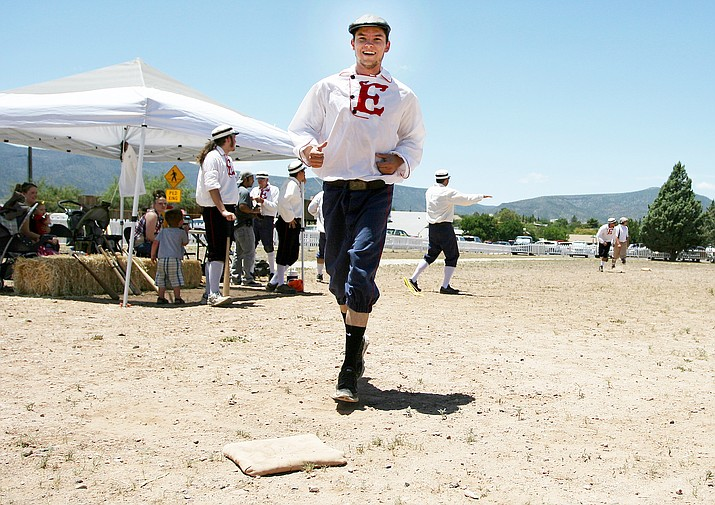 In the 1860s, base ball was a gentlemanly, pastoral game. Playing base ball using rules from 1860, the Fort Verde Excelsiors will host the Prescott Champions at 1 p.m. Oct. 14 at the Fort Verde Parade Grounds, a part of the annual Fort Verde Days celebration. (Photo by Bill Helm)