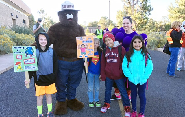 Grand Canyon students, teachers participate in Walk to School Day