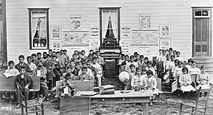 This photograph was taken in 1882 at an Indian Training School in Forest Grove, Oregon.Courtesy Oregon Historical Society Research Library, Indian Country Today Media Network