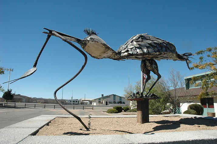 Roadrunner sculpture at Memory Park by Vivian Wells. (Jason Wheeler/Review)