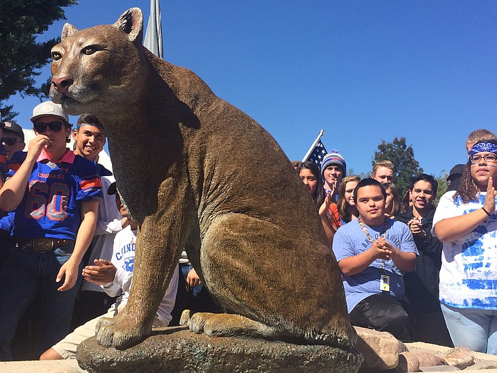 New cougar statue at CVHS. But what did they name him? (Jason Wheeler/Review)
