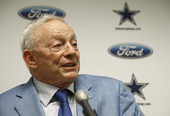 In this Sept. 25, 2017, file photo, Dallas Cowboys owner Jerry Jones speaks after an NFL football game against the Arizona Cardinals, in Glendale. (Ross D. Franklin/AP, File)