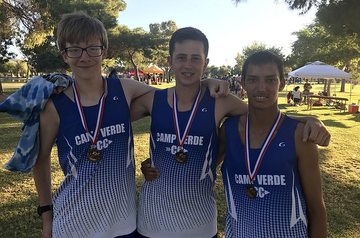 Camp Verde boys cross country runners (left to right): Logan Pratt, Dominic Pittman and Sy Hanson. (Photo courtesy Mike O'Callaghan)