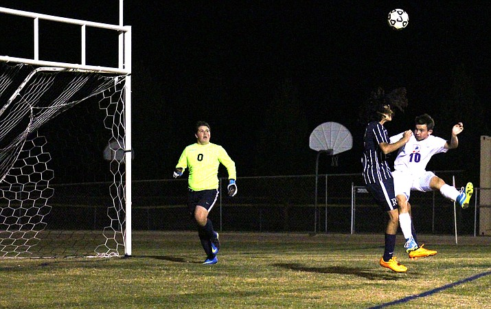 Camp Verde sophomore Kelton O'Grady during the Cowboys' 8-0 win over Rancho Solano Prep on Tuesday night at home. Camp Verde scored six goals in the second half.  (VVN/James Kelley)