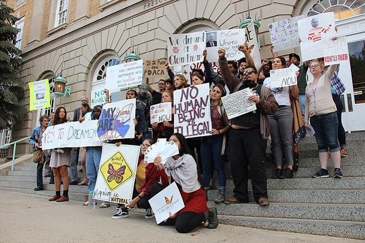 Local students rallied on Wednesday, Oct. 11, to urge Sen. John McCain to support a clean Dream Act. (Max Efrein/Courier)