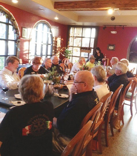 The local chapter of Rotarians hosted dinner for a chapter from Canada who are on their way to Mexico to deliver emergency goods.