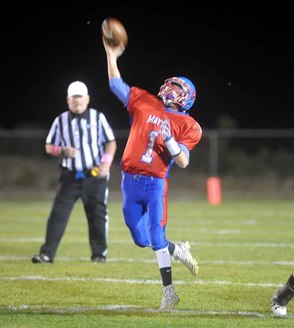 Mayer's Dylan Wilhide (1) launches a deep pass as the Wildcats faced the Bagdad Sultans Friday night in a matchup of top 4 teams in the AIA 1A rankings in Mayer. (Les Stukenberg/Courier)