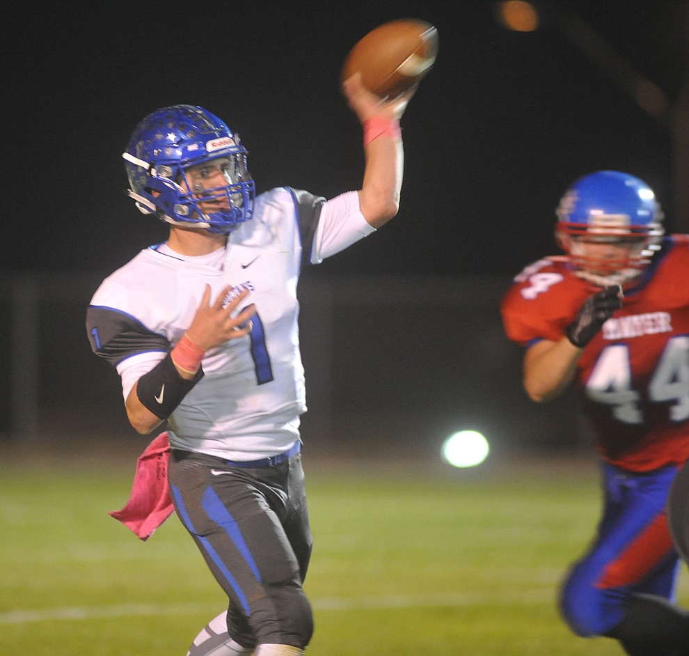 Bagdad's Israel Loveall throws downfield as the Sultans faced the Mayer Wildcats Friday night in a matchup of top 4 teams in the AIA 1A rankings in Mayer. (Les Stukenberg/Courier)