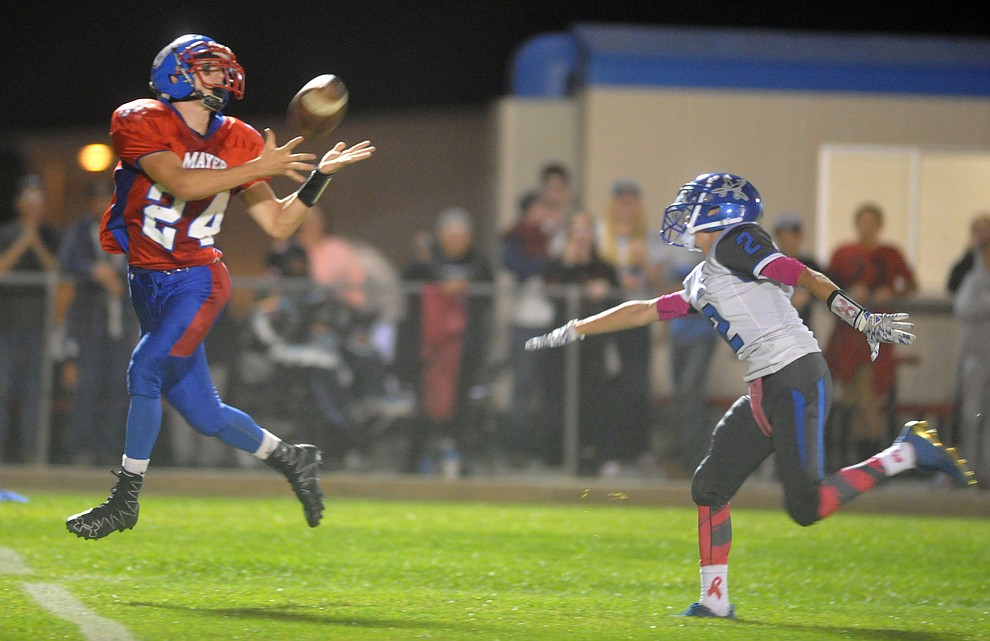 Mayer's Dade Herbert catches a long touchdown pass as the Wildcats faced the Bagdad Sultans Friday night in a matchup of top 4 teams in the AIA 1A rankings in Mayer. (Les Stukenberg/Courier)