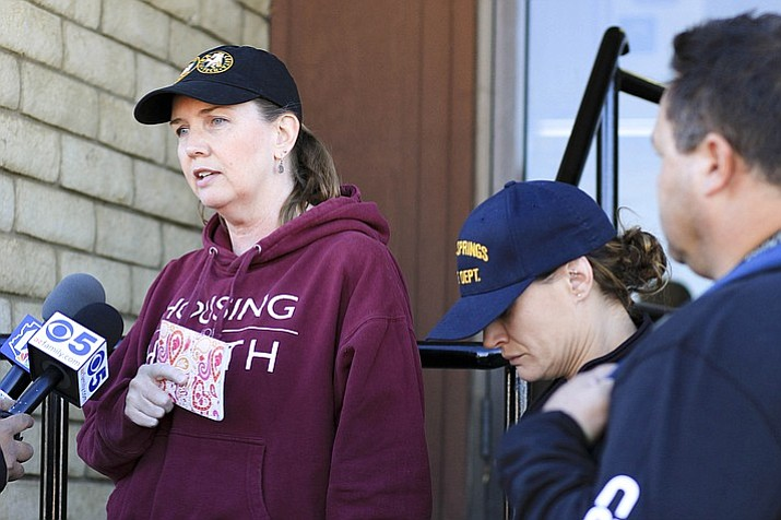 Cathryn Gorospe, a 44-year-old woman was reported missing Oct. 8 after posting bond for Charlie Malzahn in Flagstaff. Cathryn's mother-in-law, Deidre Gorospe and brother, Cory Gorospe, organized a search party Oct. 12 in Williams. Deidre gave a brief update to reporters at the police department before searchers left.