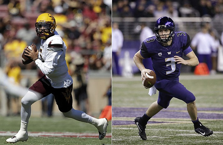 At left, in a Sept. 30, 2017, file photo, Arizona State quarterback Manny Wilkins scrambles during the first half of an NCAA college football game against Stanford, in Stanford, Calif. At right, in an Oct. 7, 2017, file photo, Washington quarterback Jake Browning runs against California in the first half of an NCAA college football game, in Seattle. No. 5 Washington plays at Arizona State on Saturday. (AP Photo, File)