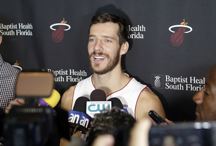 Miami Heat's Goran Dragic talks to reporters during Media Day, Monday, Sept. 25, 2017, in Miami. (Alan Diaz/AP)