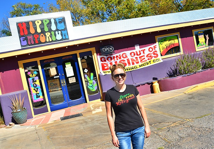 Marisa Gladen poses outside the Hippie Emporium in Old Town Cottonwood on Thursday. (VVN/Vyto Starinskas)