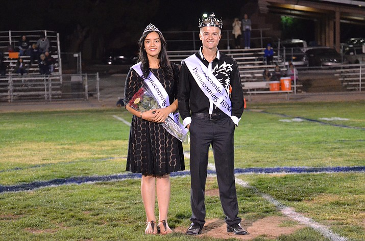 Valeria Ortiz and Wesley Loveall were crowned Camp Verde High School's Queen and King during the Coyboys' Homecoming game Friday evening. (VVN/Vyto Starinskas)