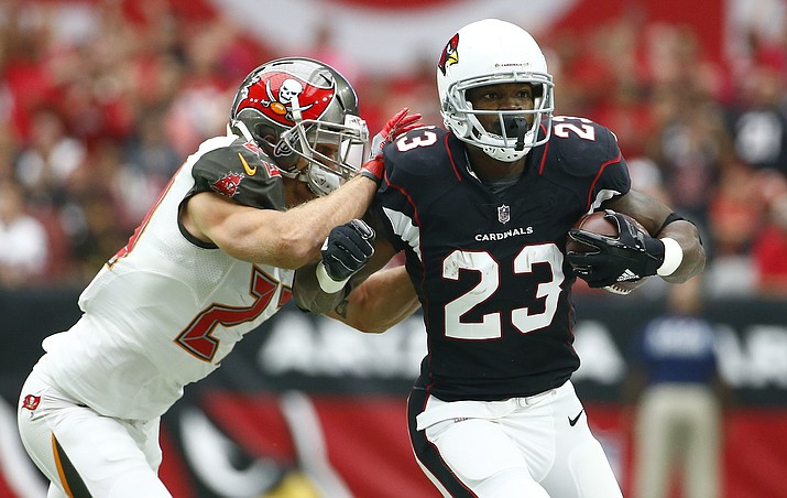Arizona Cardinals running back Adrian Peterson (23) tries to run past Tampa Bay Buccaneers free safety Chris Conte, left, during the first half of an NFL football game, Sunday, Oct. 15, in Glendale. (Ralph Freso/AP)
