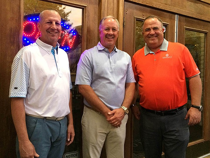 New owners and management at the Prescott Golf and Country Club include Wyatt Collier, left, director of club operations; Justin Henderson, general manager, center; and Mike Mathews, president and CEO. (Sue Tone/Tribune)