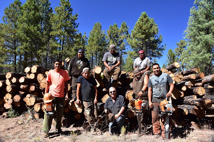 Workers complete a thinning project on the Tusayan Ranger District t help improve the habitat for mule deer.