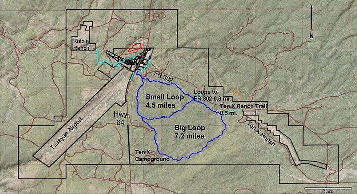 The map shows trails as currently identified by TrailsInspire. Black lines indicate boundary lines and private property. The project consists of two loop trails, a Grand Canyon History Trail and a number of small connector trails.