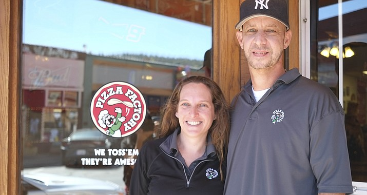 Derrick and Kendra Wortner took over ownership of the Pizza Factory in Williams in 2009.