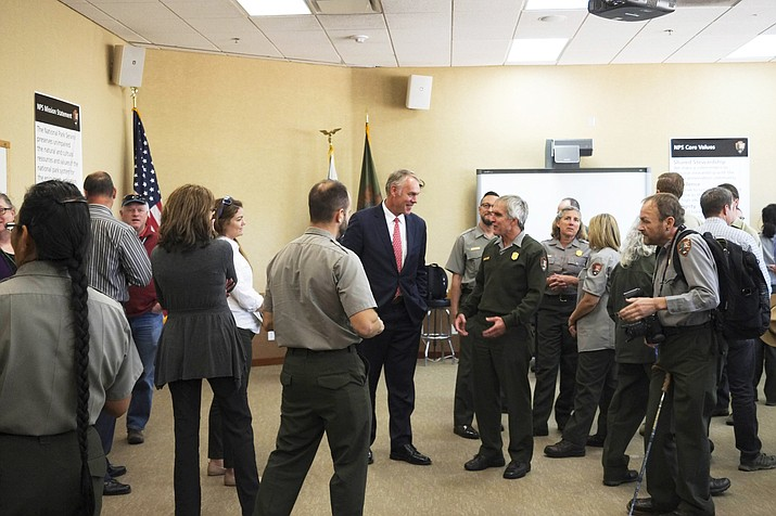 Secretary of the Interior Ryan Zinke addressed National Park Service employees before meeting with press about sexual harassment within the NPS.