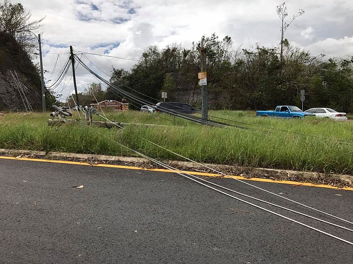 Power lines down on the island of Puerto Rico.